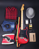 Musical equipment, clothes and footwear — Stock Photo