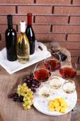 Bottles and glasses of wine — Stock Photo