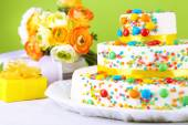 Beautiful tasty birthday cake — Stock Photo