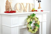 Fireplace with beautiful decorations — Stock Photo