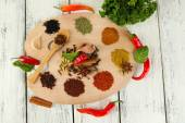 Painting palette with various spices — Foto de Stock