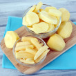 Raw peeled and sliced potatoes in glass bowls, on cutting board, on color wooden background — Stock Photo #54055937