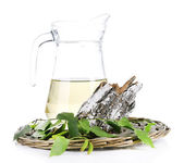A big pitcher of fresh birch sap isolated on white — Stock Photo