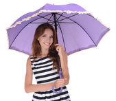Beautiful young girl with umbrella isolated on white — Stock Photo
