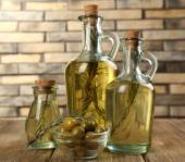 Different sorts of cooking oil, close-up — Stock Photo