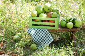 Juicy apples in wooden box — Stock Photo