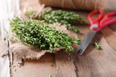 Thyme on table close-up — Stock Photo