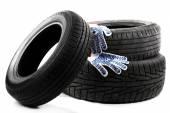Neumáticos y guantes de tela — Foto de Stock