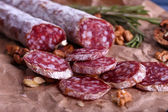 French salami and walnuts — Stock Photo