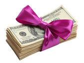 Bundle of dollars tied with ribbon — Stock Photo