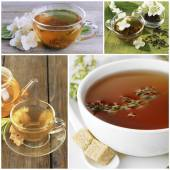 Collage of tea — Stock Photo
