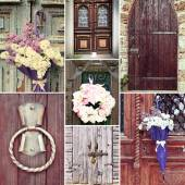 Collage of old vintage doors — Stock Photo