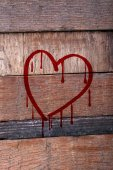 Love concept. Drawing on wooden wall — Stock Photo