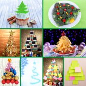 Collage of Christmas trees — Stock Photo