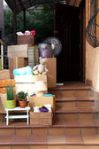 Moving boxes on stairs — Foto de Stock
