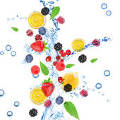 Fresh fruit, berries and green leaves with water splash, isolated on white — Foto de Stock
