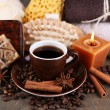 Coffee drink, soap with coffee beans — Stock Photo #54513855