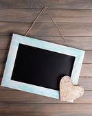 Ročník rám na dřevěné pozadí — Stock fotografie