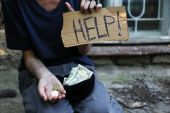 Homeless beggar money  — Stock Photo