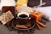 Coffee drink, soap with coffee beans — Stock Photo