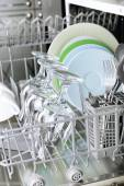 Dishwasher with clean utensils — Stock Photo