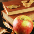 Apple with books and dry leaves — Stock Photo #54735839