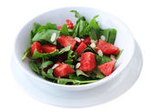 Salad with watermelon, onion, arugula — Stok fotoğraf