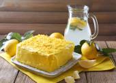 Tasty lemon cake — Stock Photo