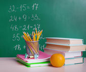 School supplies on table — Stock Photo