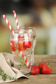 Tasty cool beverage with strawberries — Stock Photo