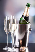 Champagne in glasses and bottle — Foto de Stock
