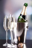 Champagne in glasses and bottle — Foto Stock