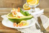 Tasty salad with shrimps — Stock Photo