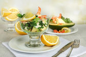 Tasty salads with shrimps — Stock Photo