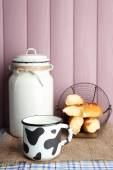 Retro still life with tasty rustic milk — Stock Photo