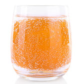 Orange in glass of water — Stock Photo