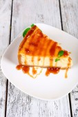 Cheese cake on plate — Stock Photo