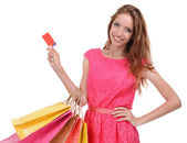 買い物袋を持つ若い女 — ストック写真
