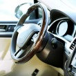 Interior view of car with beige salon and black dashboard — Stock Photo #54842513