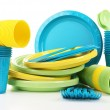Bright plastic disposable tableware — Stock Photo #54849853