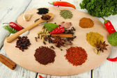 Painting palette with various spices — Stock Photo