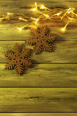 Christmas Garland and snowflakes — Stok fotoğraf