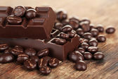 Coffee beans with chocolate glaze — Stock Photo