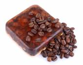 Organic soap with coffee beans — Stock Photo