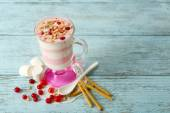 Cranberry milk dessert — Stock Photo