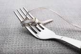 Tying bow on fork — ストック写真