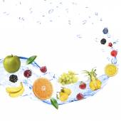 Fresh fruit, berries and green leaves with water splash, isolated on white — Stock Photo