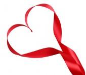 Shiny red satin ribbon — Stock Photo