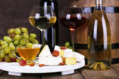 Supper consisting of Camembert cheese — Stock Photo