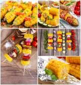 烤的玉米棒子的拼贴画 — 图库照片